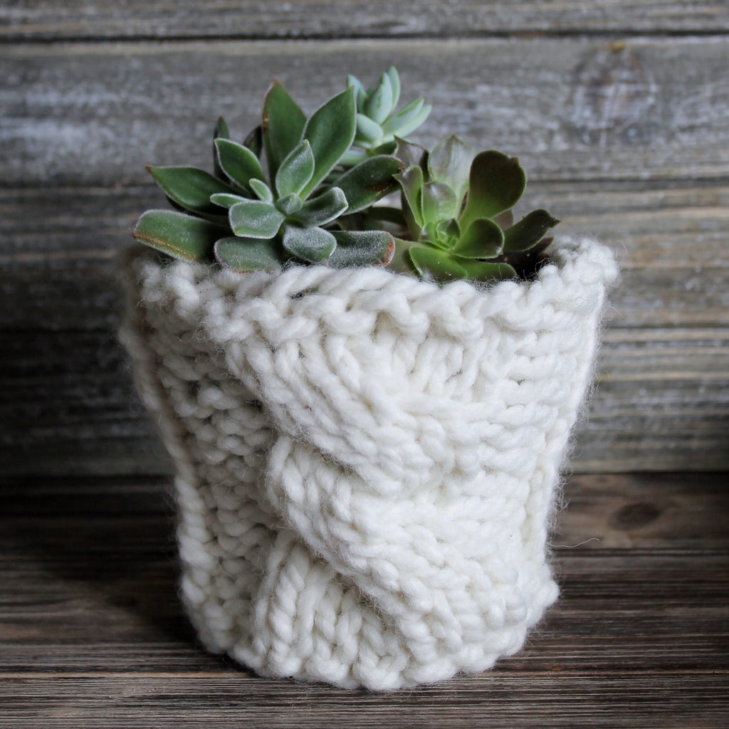 Knitted Plant Cover - with cable stitch