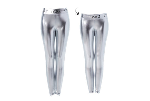 OMG! PLATINUM SILVER LEGGINGS short