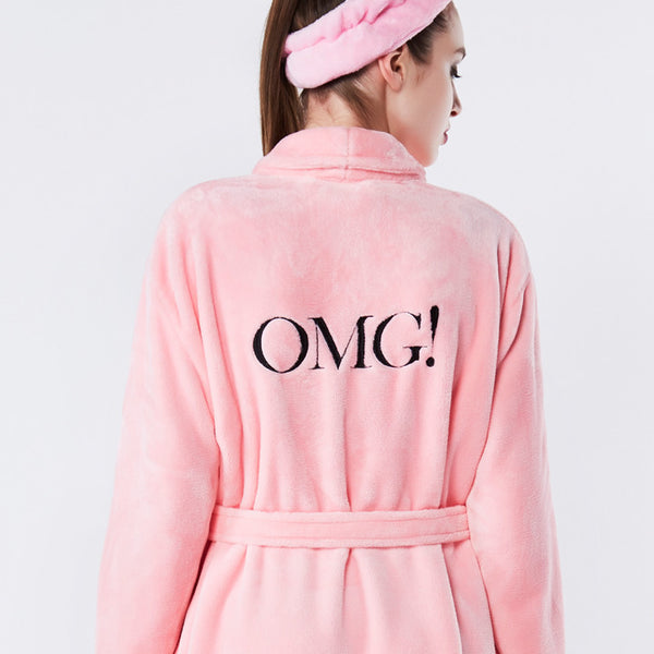 OMG! Spa Robe Pink logo