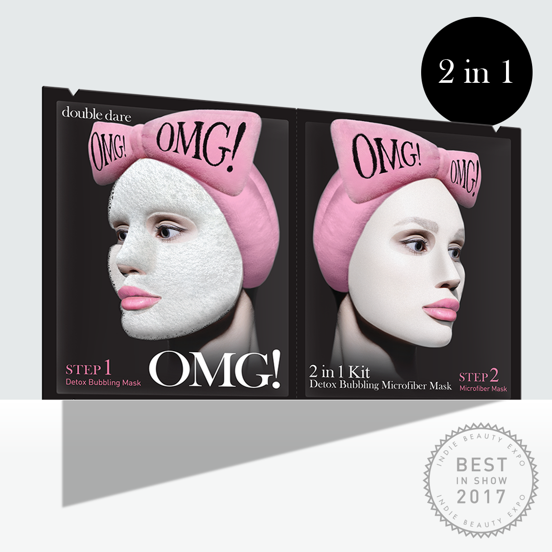 OMG! 2in1 Kit Detox Bubbling Microfiber Mask - DOUBLE DARE