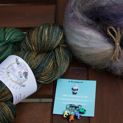 Yarn from Maddfuzzy, Shetland Batts, and Stitch Markers