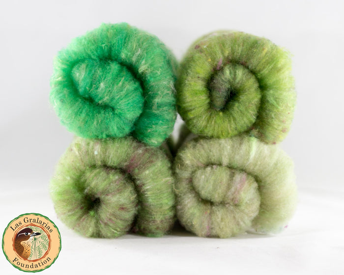Rambouillet Milkweed Batts, Bromeliad Party - Buchanan Fiber Co.