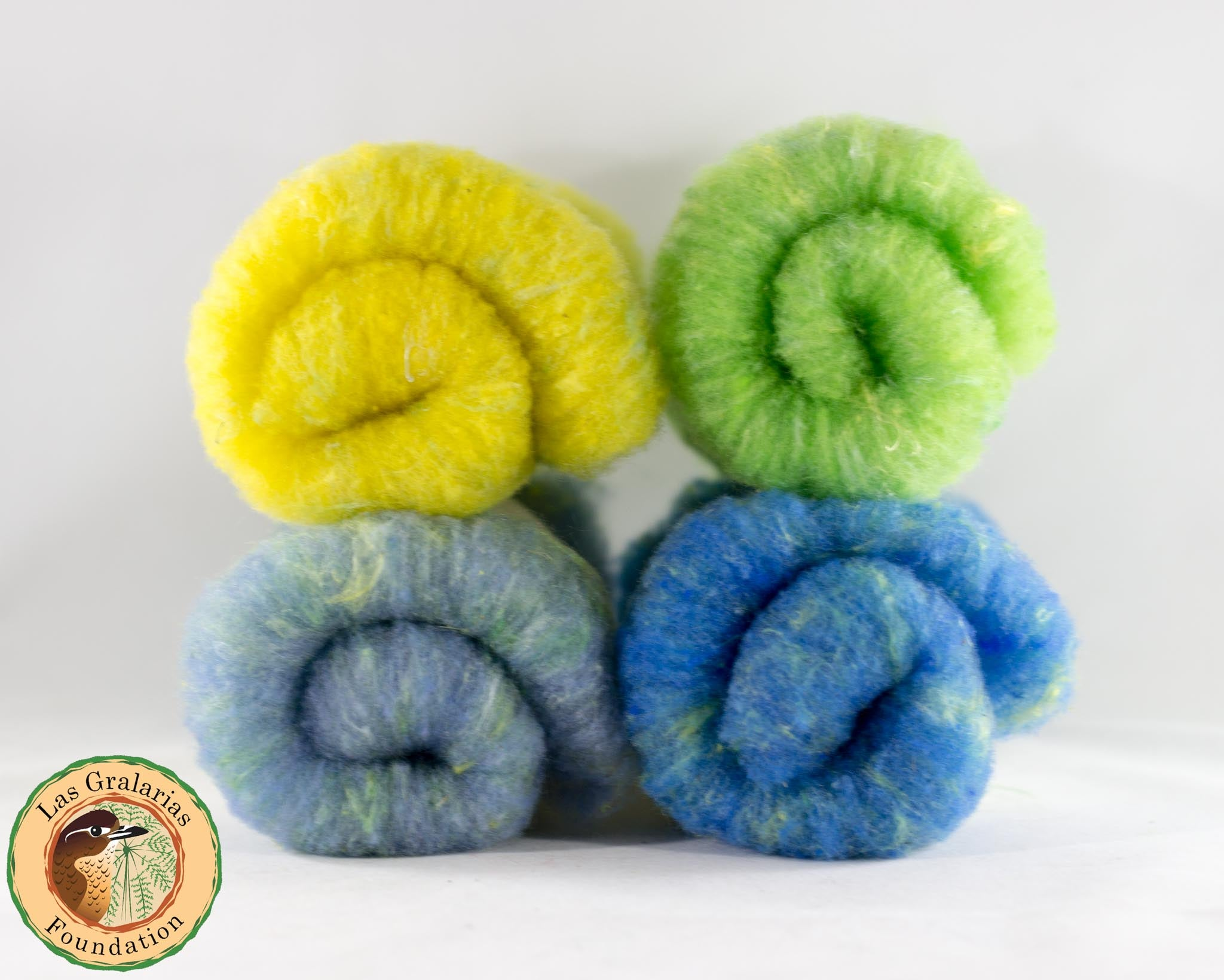 Rambouillet Milkweed Batts, Cheerful Day Gecko - Buchanan Fiber Co.