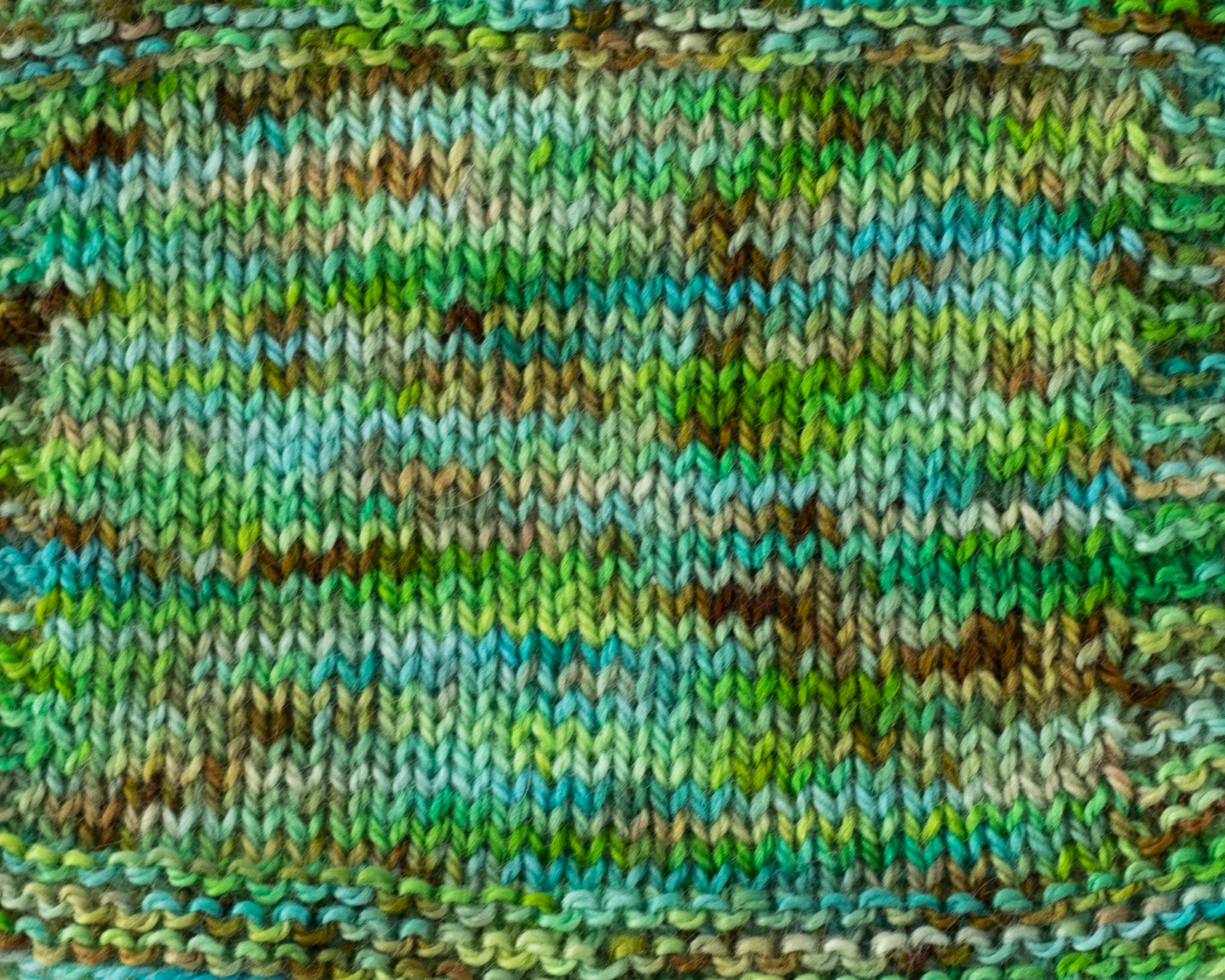Organic & Fair Trade Cotton Yarn-Green, Teal, and Brown Swatch