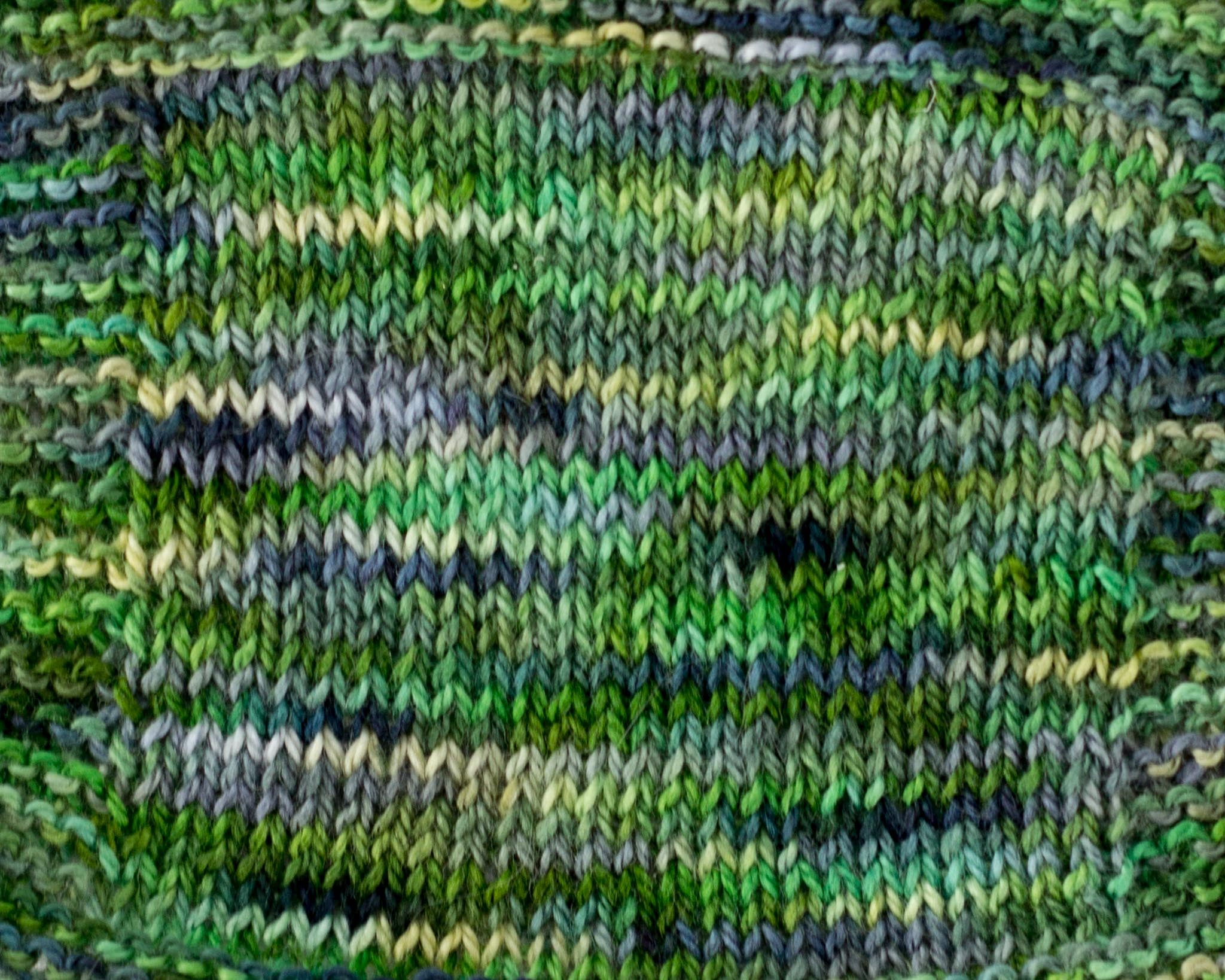 Organic & Fair Trade Cotton Yarn-Green, Grey, and Yellow Swatch
