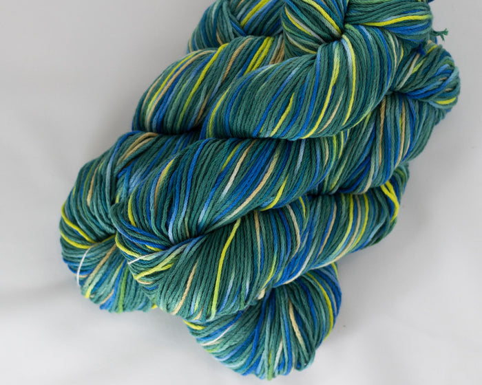Organic & Fair Trade Cotton Yarn- Blue, green, and yellow