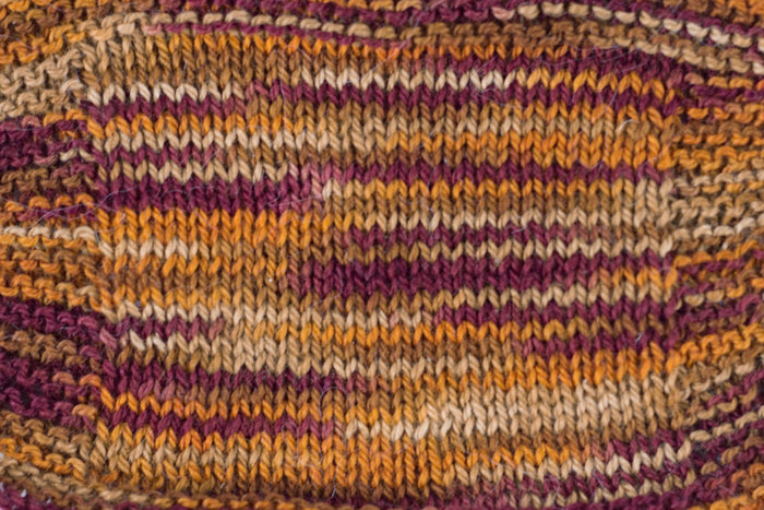 Organic & Fair Trade Cotton Yarn- maroon, orange, and brown swatch