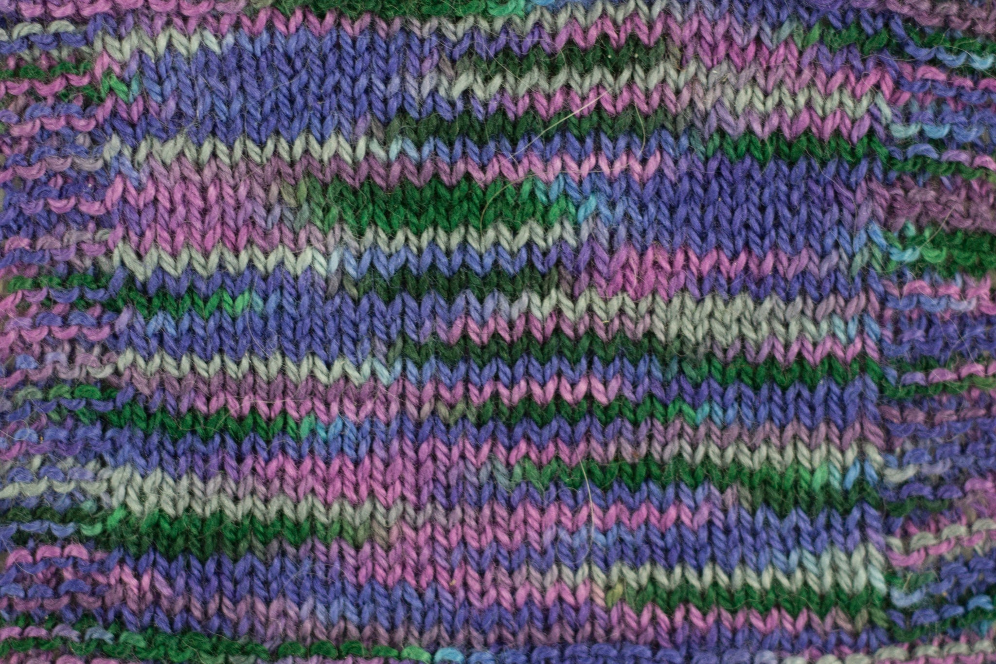 Organic & Fair Trade Cotton Yarn- purples, grey, and green swatch