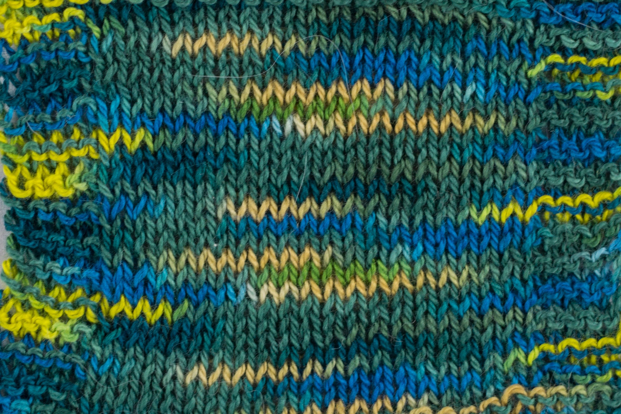 Organic & Fair Trade Cotton Yarn- Blue, green, and yellow swatch