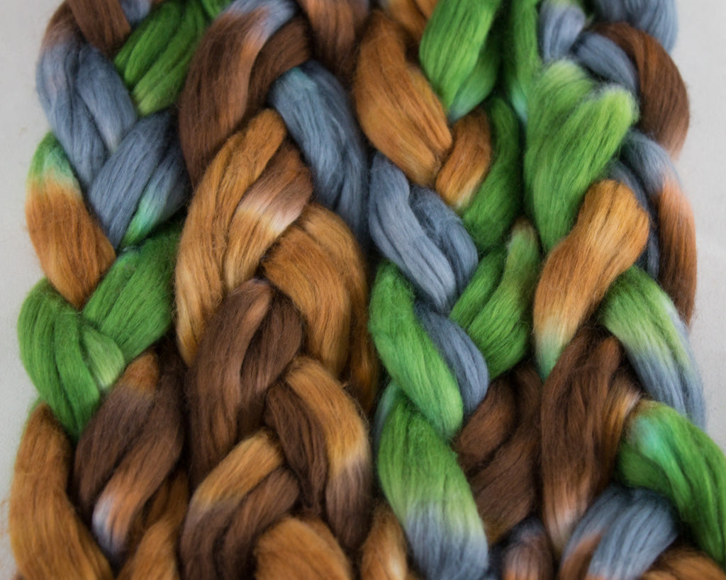 Pima cotton sliver - brown, green, and grey