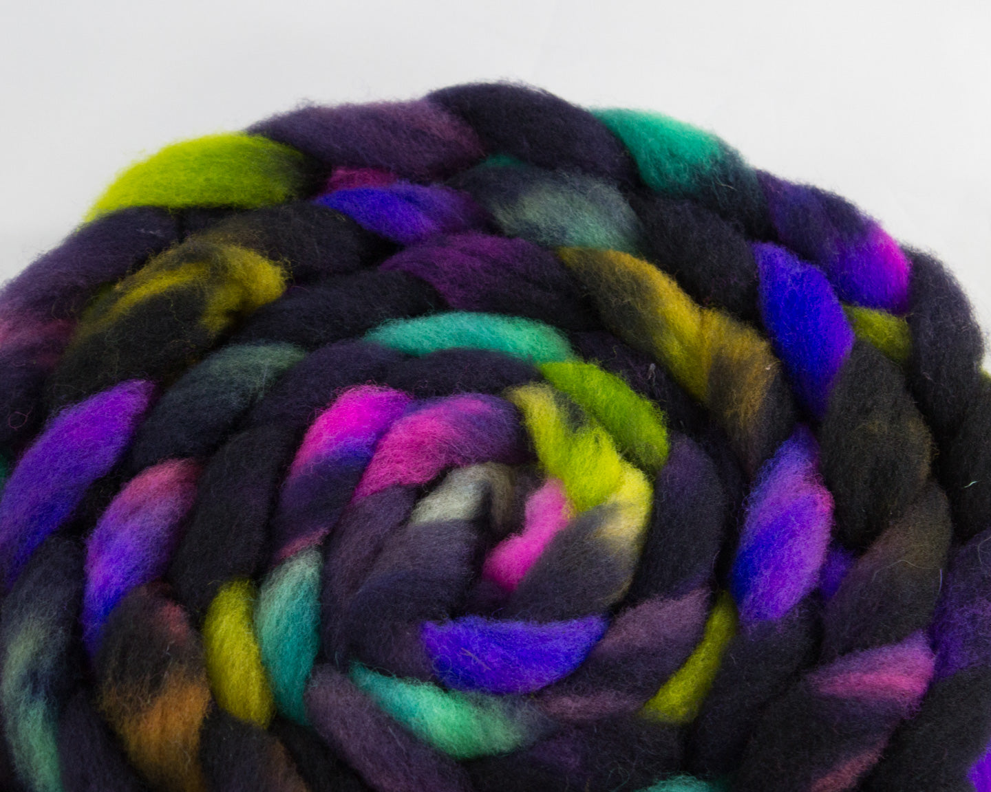 Rambouillet Roving - Navy, purple, green, and teal