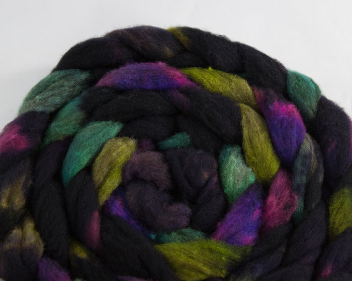 CVM/Cormo Roving - Navy, purple, green, and teal