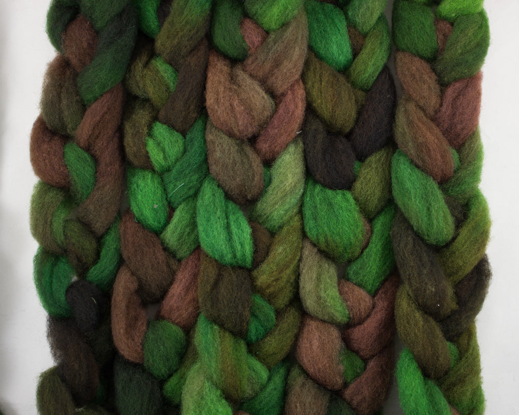 Rambouillet Roving - greens and brown