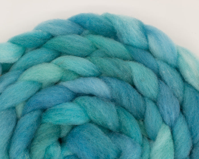 Rambouillet Roving - blues and teal