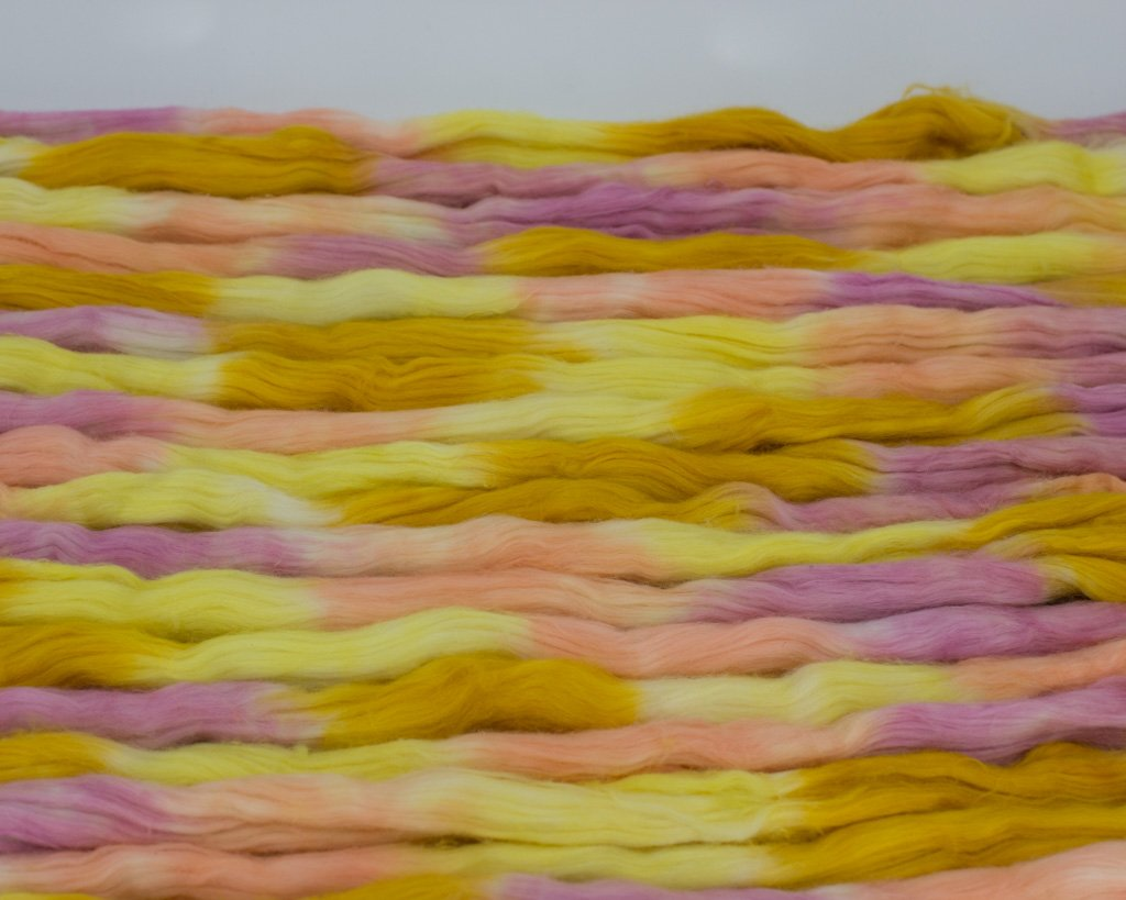 Hand-dyed Cotton Sliver - yellow, pinks, orange