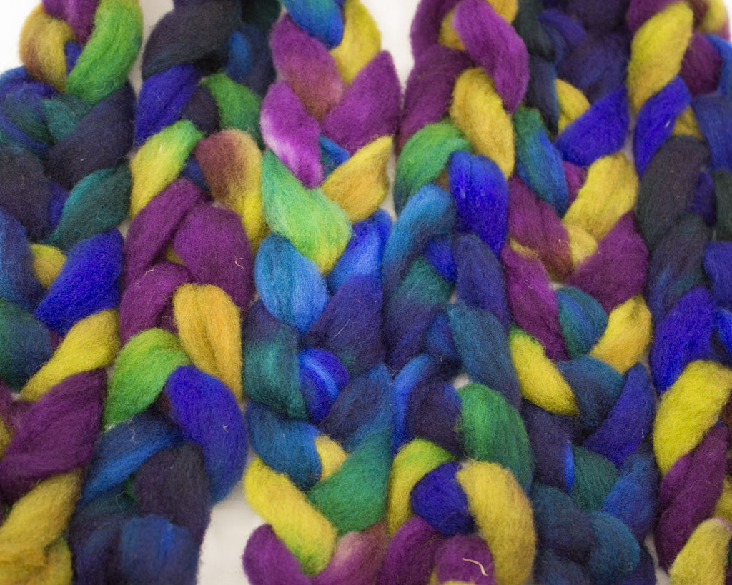 Rambouillet Roving - blue, green, teal, and yellow