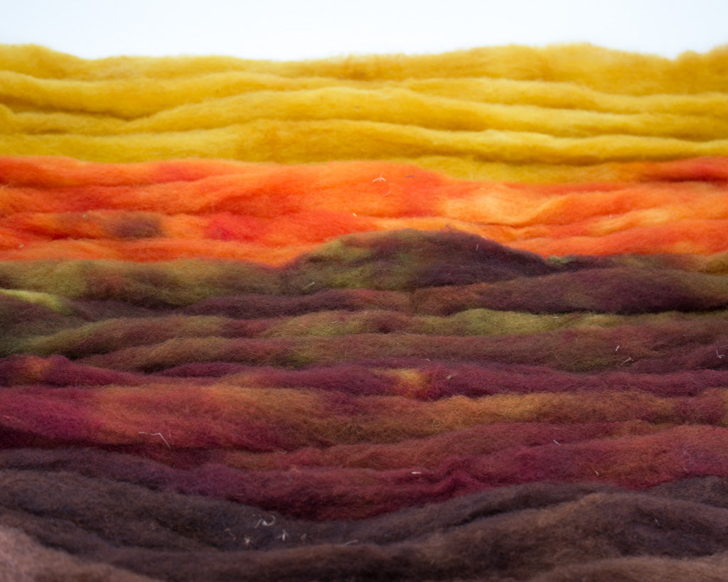Rambouillet Roving - yellow, orange, and browns