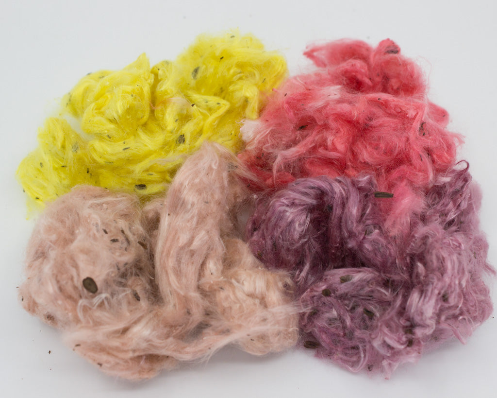 Hand-dyed Milkweed - red, pink, yellow, purple