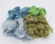 Hand dyed milkweed - purple, blue, green