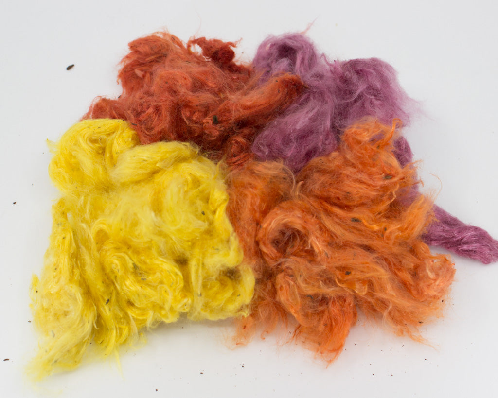 Hand-dyed Milkweed: orange, red, yellow, and purple