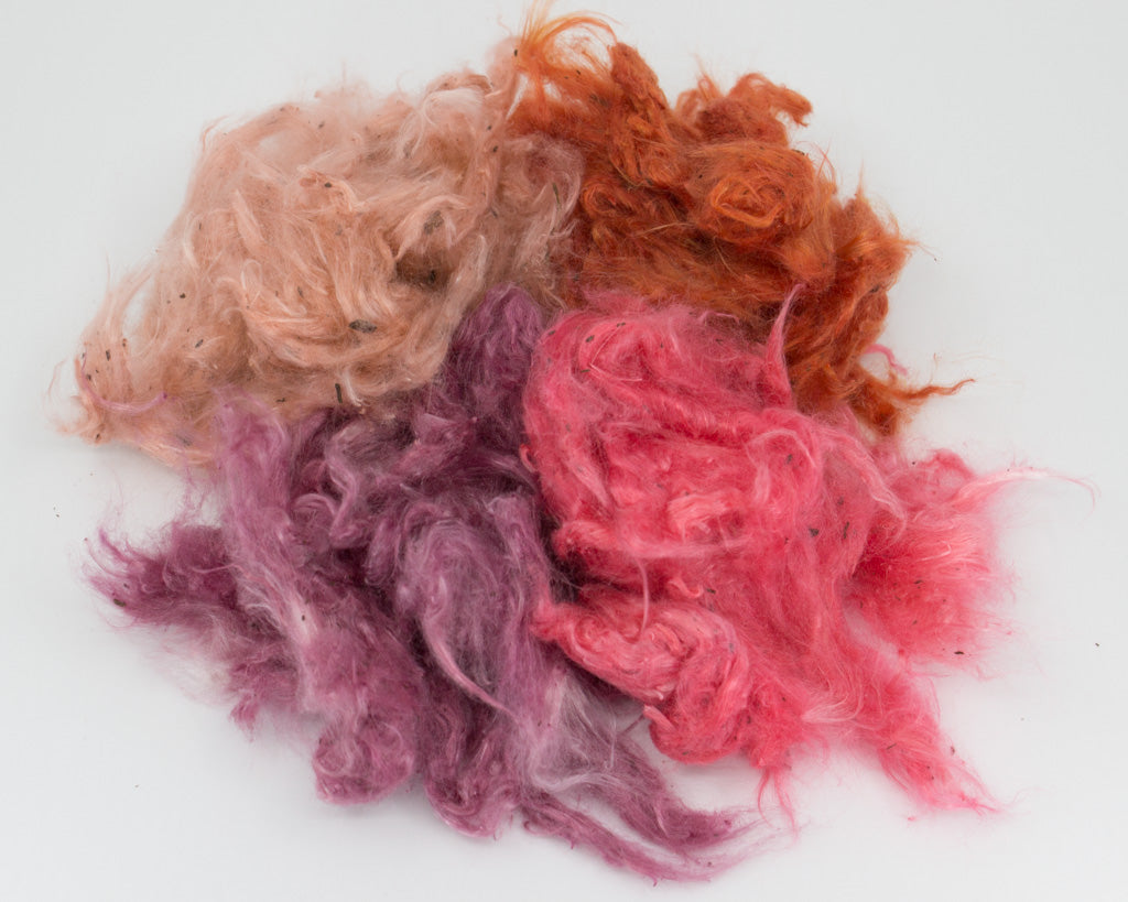 Hand-dyed Milkweed - pink, orange, maroon, light pink