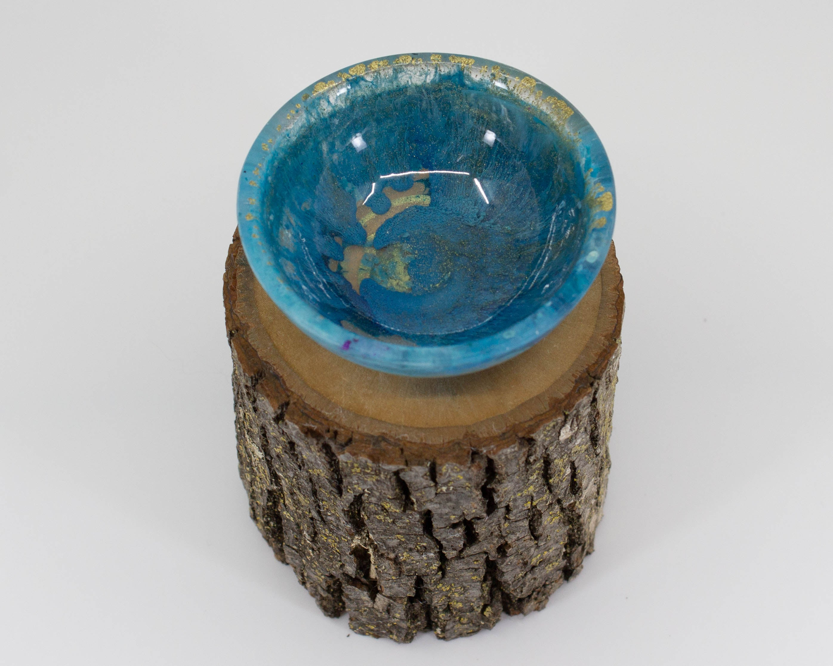 Supported Spinning Bowl - blue and gold