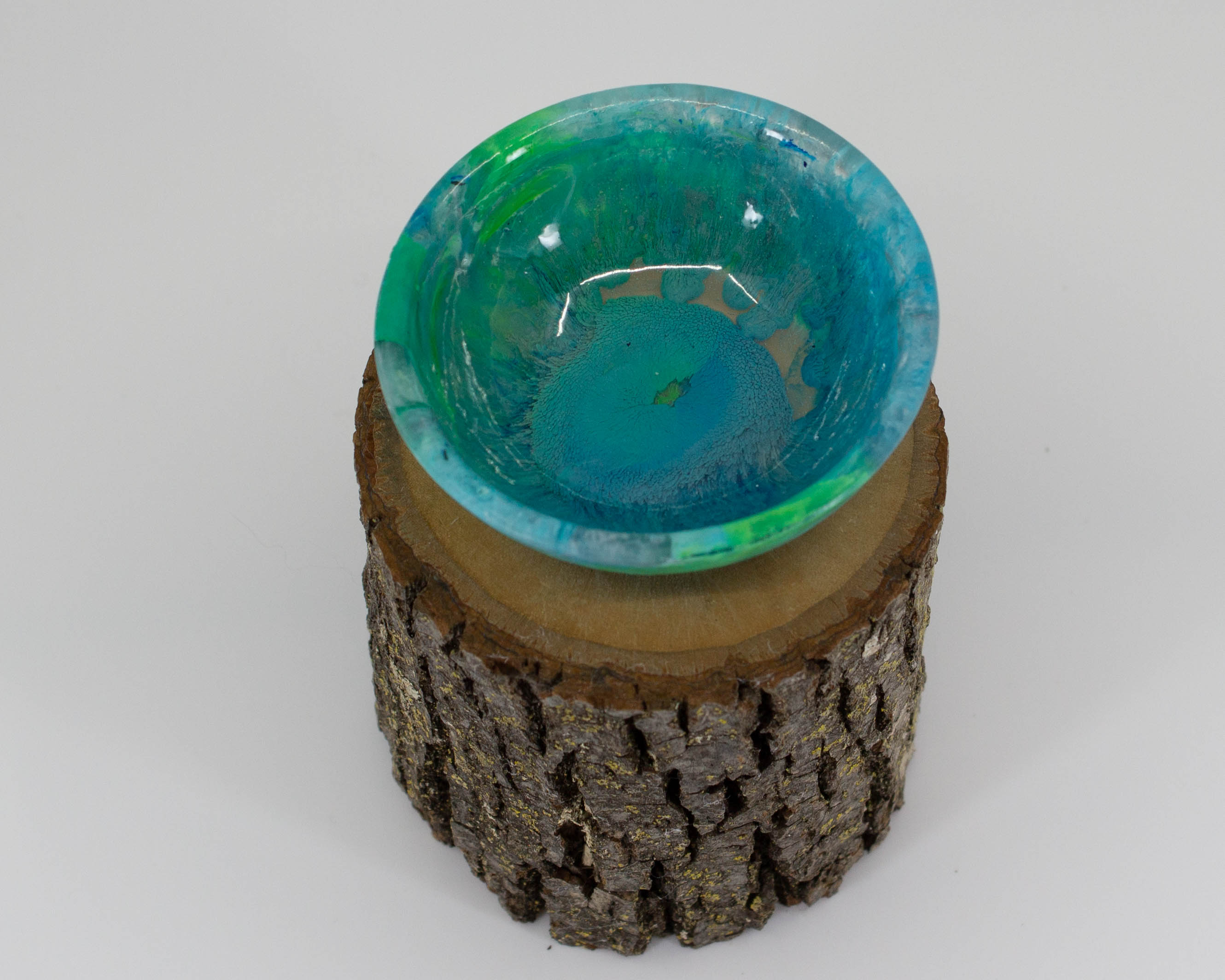 Supported Spinning Bowl -teal and green
