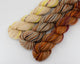 3 cotton mini skeins, each a different colorway
