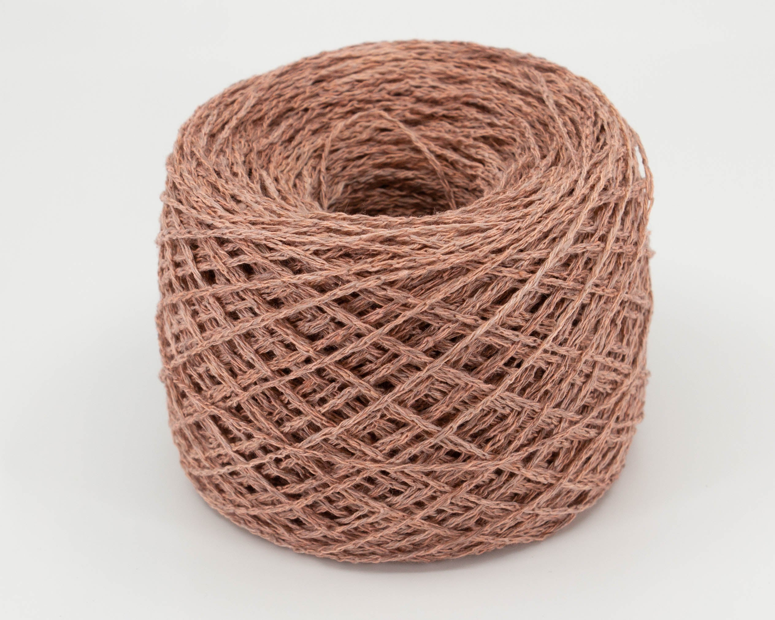 pale pink, brown linen/silk yarn, caked