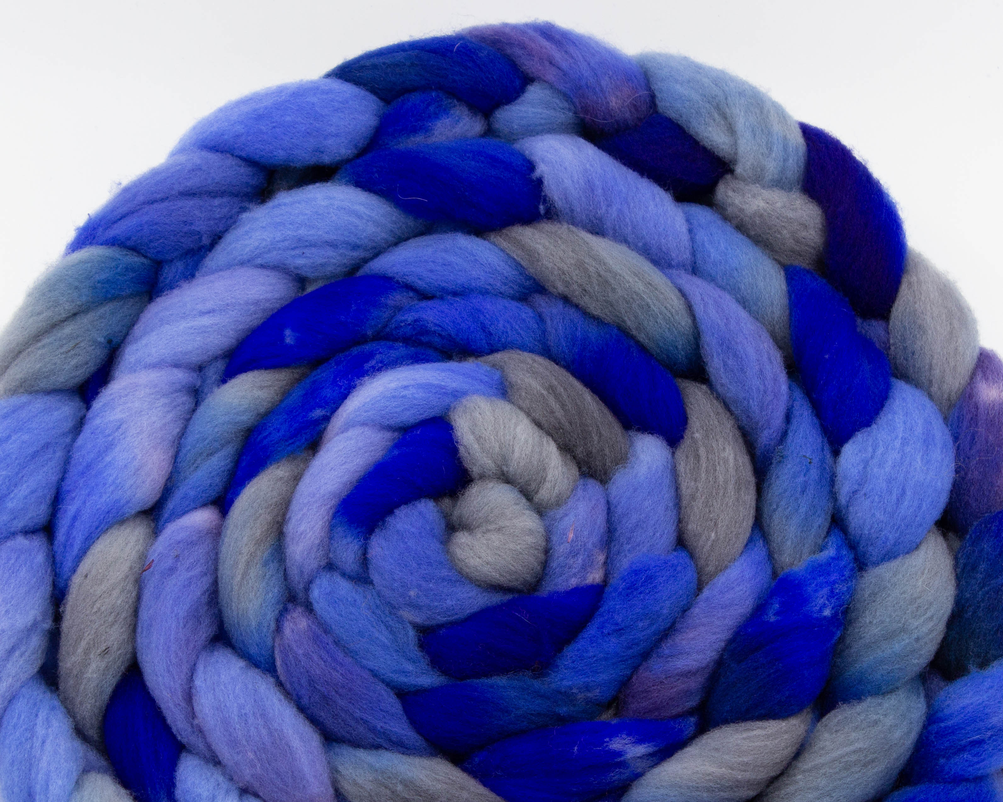 braided Rambouillet roving - lavender, blue, and grey