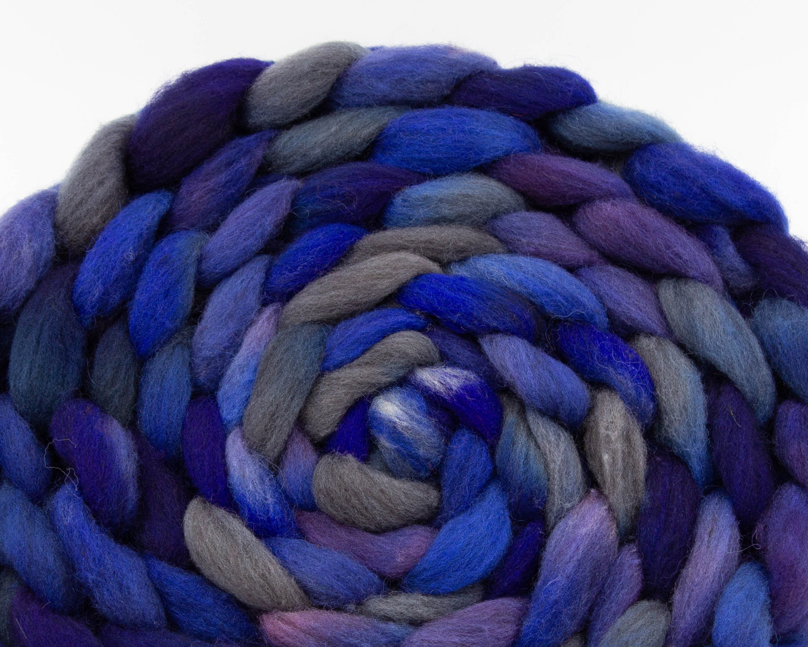 braided CVM/Cormo roving -blue, grey, and lavender