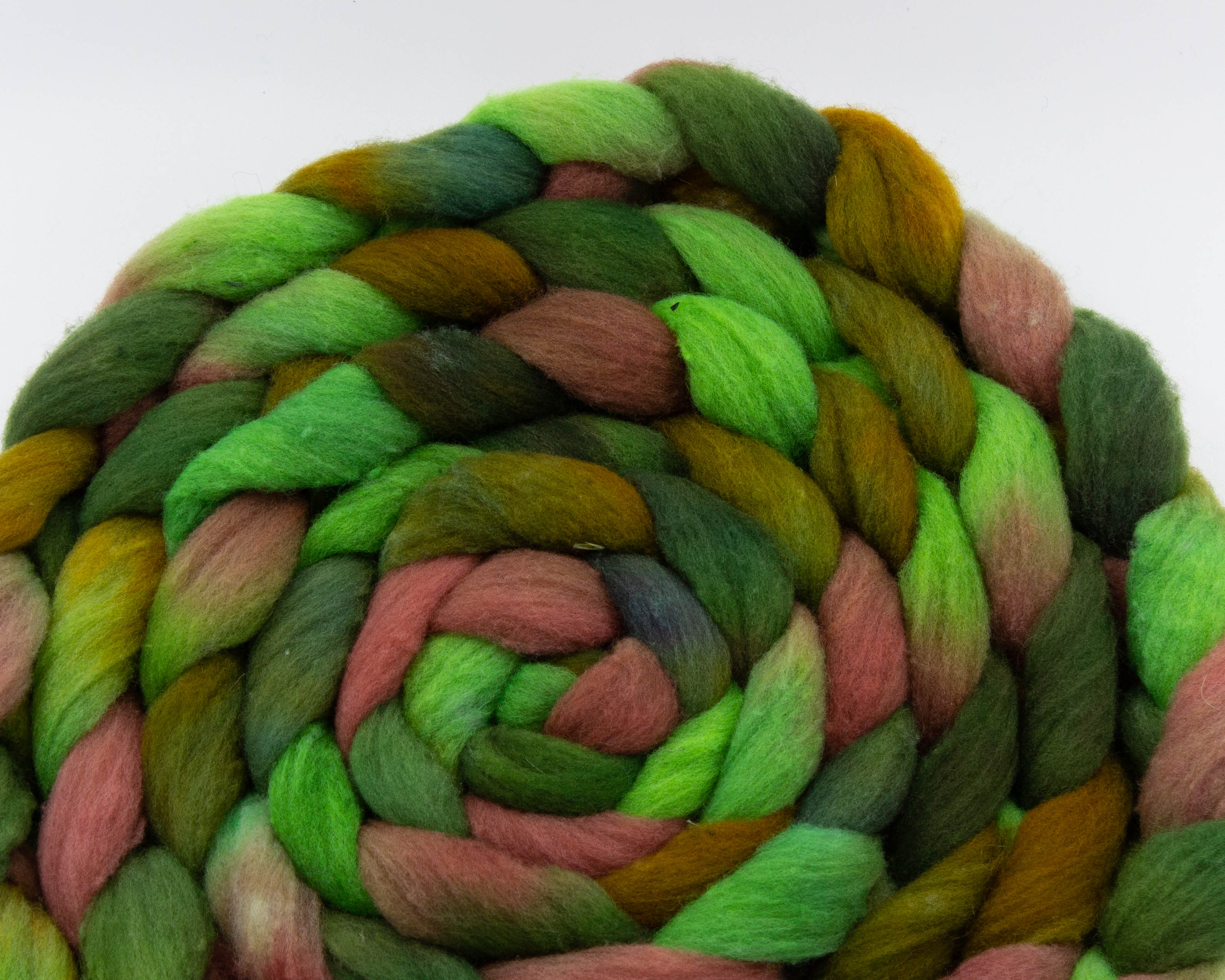 braided Rambouillet roving - green, moss, brown