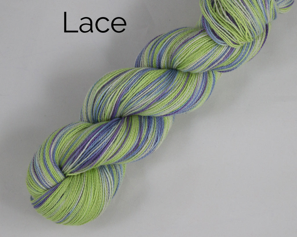 Lace Weight Organic & Fair Trade Cotton Yarn-Green, Purple, and White