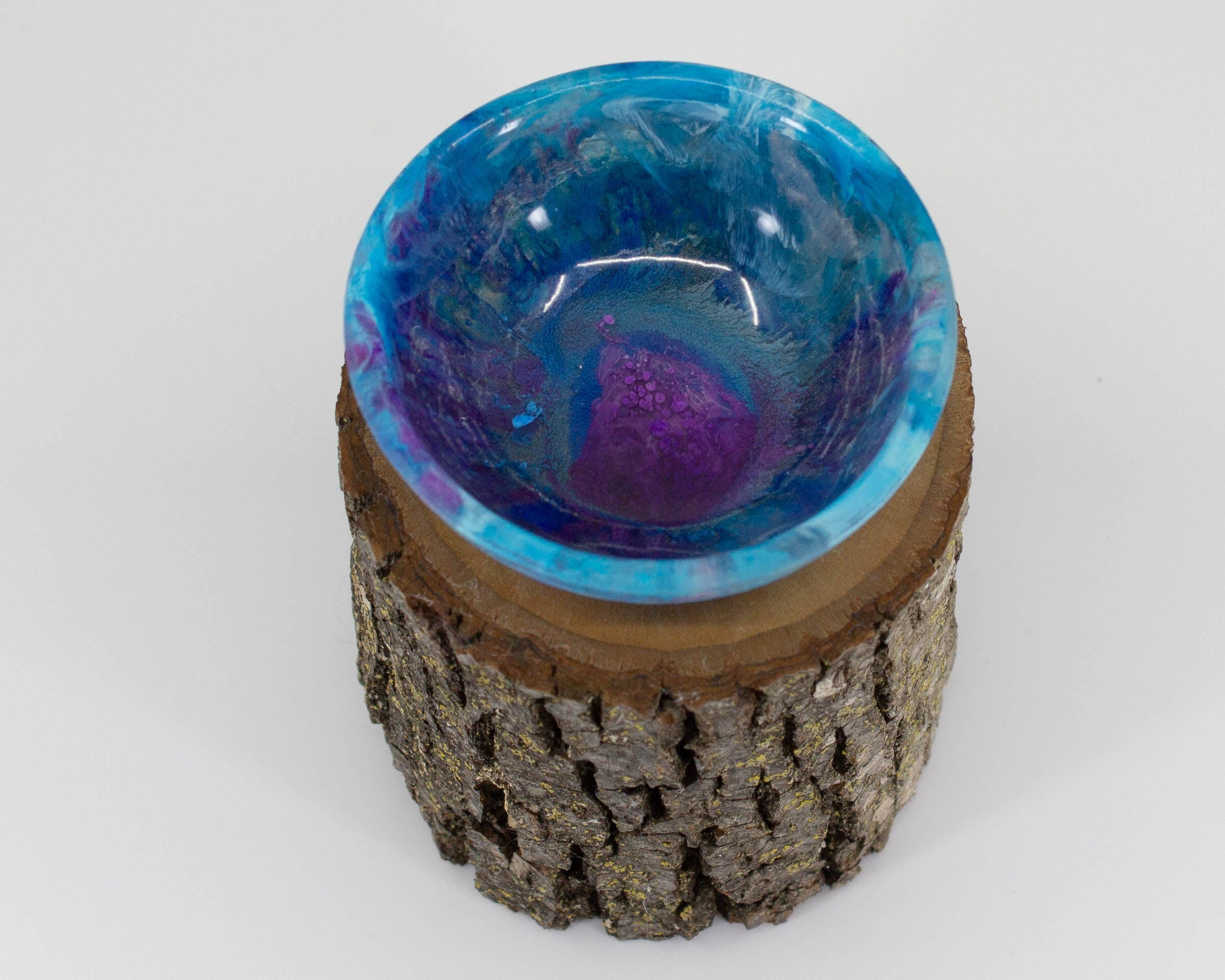 Supported Spinning Bowl - blue and purple