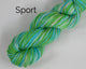 Sport Weight Organic & Fair Trade Cotton Yarn-Green, Teal, and Brown