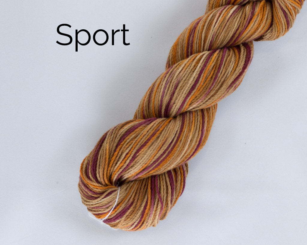 Organic & Fair Trade Cotton Yarn- maroon, orange, and brown