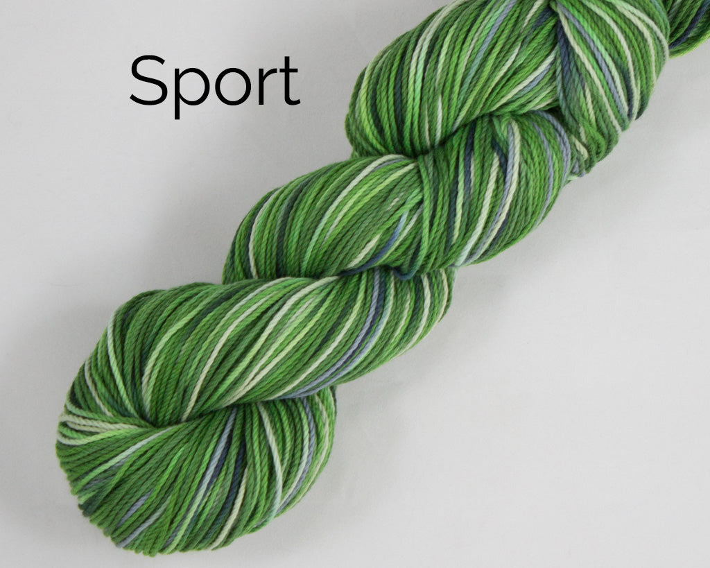 Sport Weight Organic & Fair Trade Cotton Yarn-Green, Grey, and Yellow