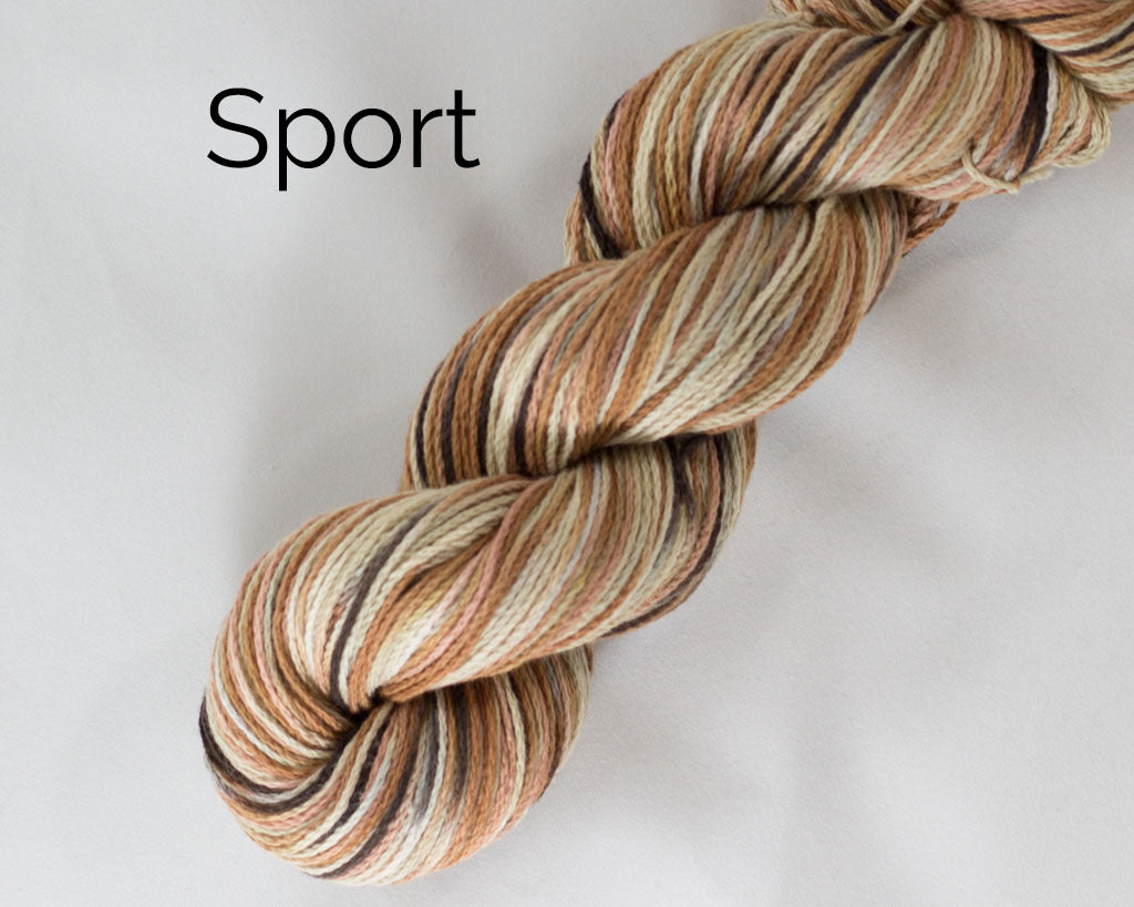 Organic & Fair Trade Cotton Yarn- brown, tan, and pink