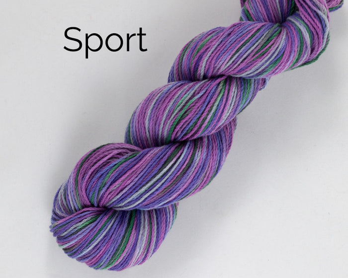 Organic & Fair Trade Cotton Yarn- purples, grey, and green