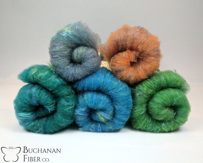 Rambouillet Milkweed Batts, Raindrop - Buchanan Fiber Co.