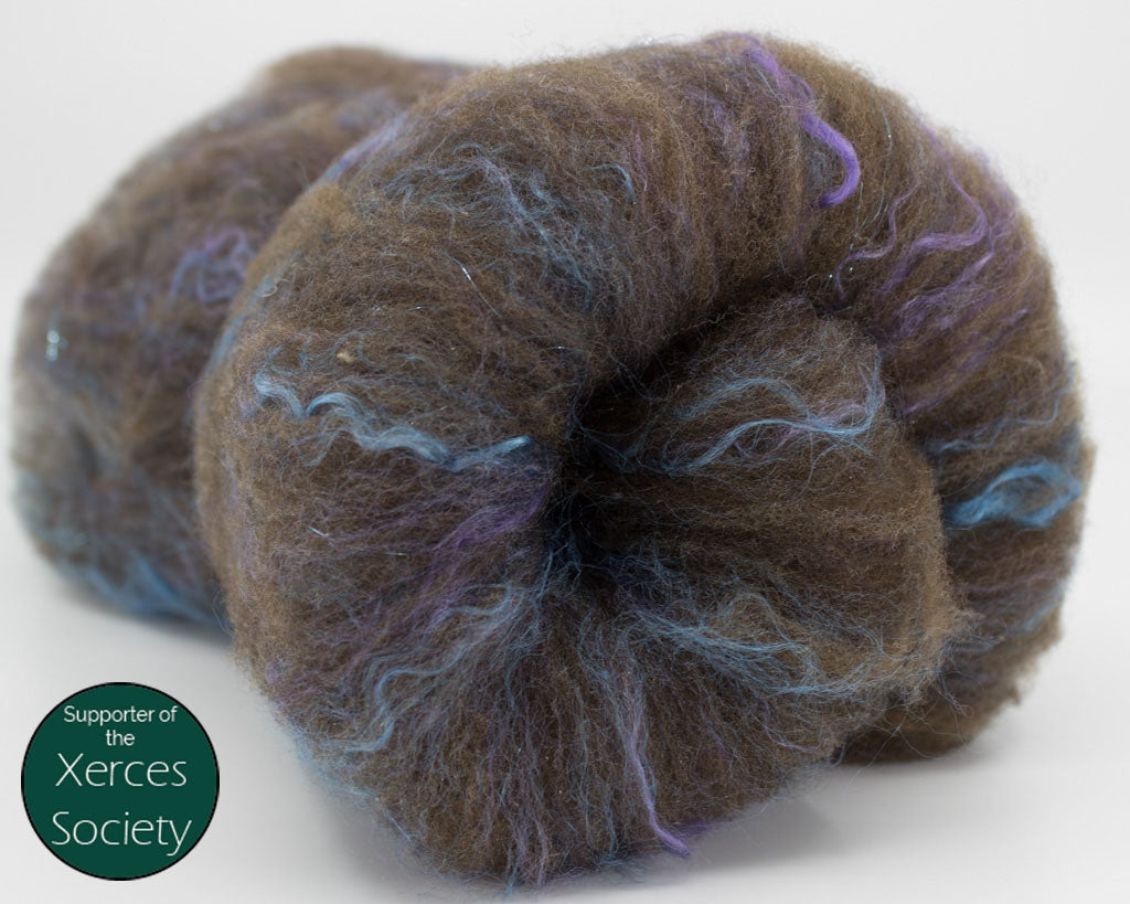 Cormo, Romeldale, Seacell, Angelina Batt - browns, blue, purple