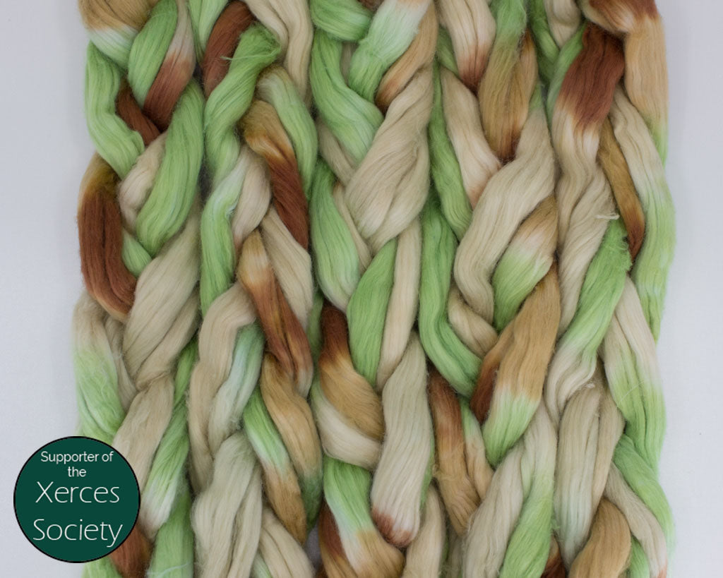 Hand-dyed Cotton Sliver - browns, tan, and light green