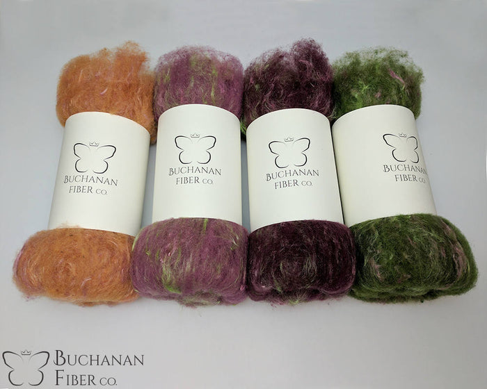 Rambouillet Milkweed Batts, Purple Coneflower - Buchanan Fiber Co.