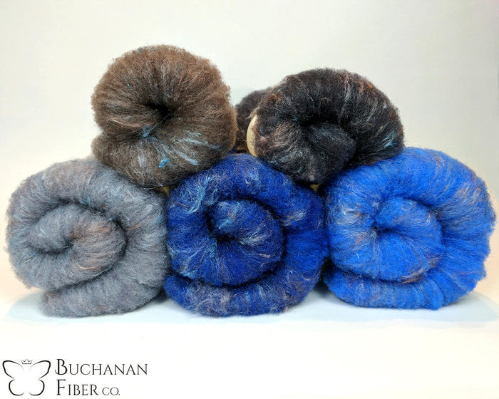 Rambouillet Milkweed Batts, Pebble Beach - Buchanan Fiber Co.