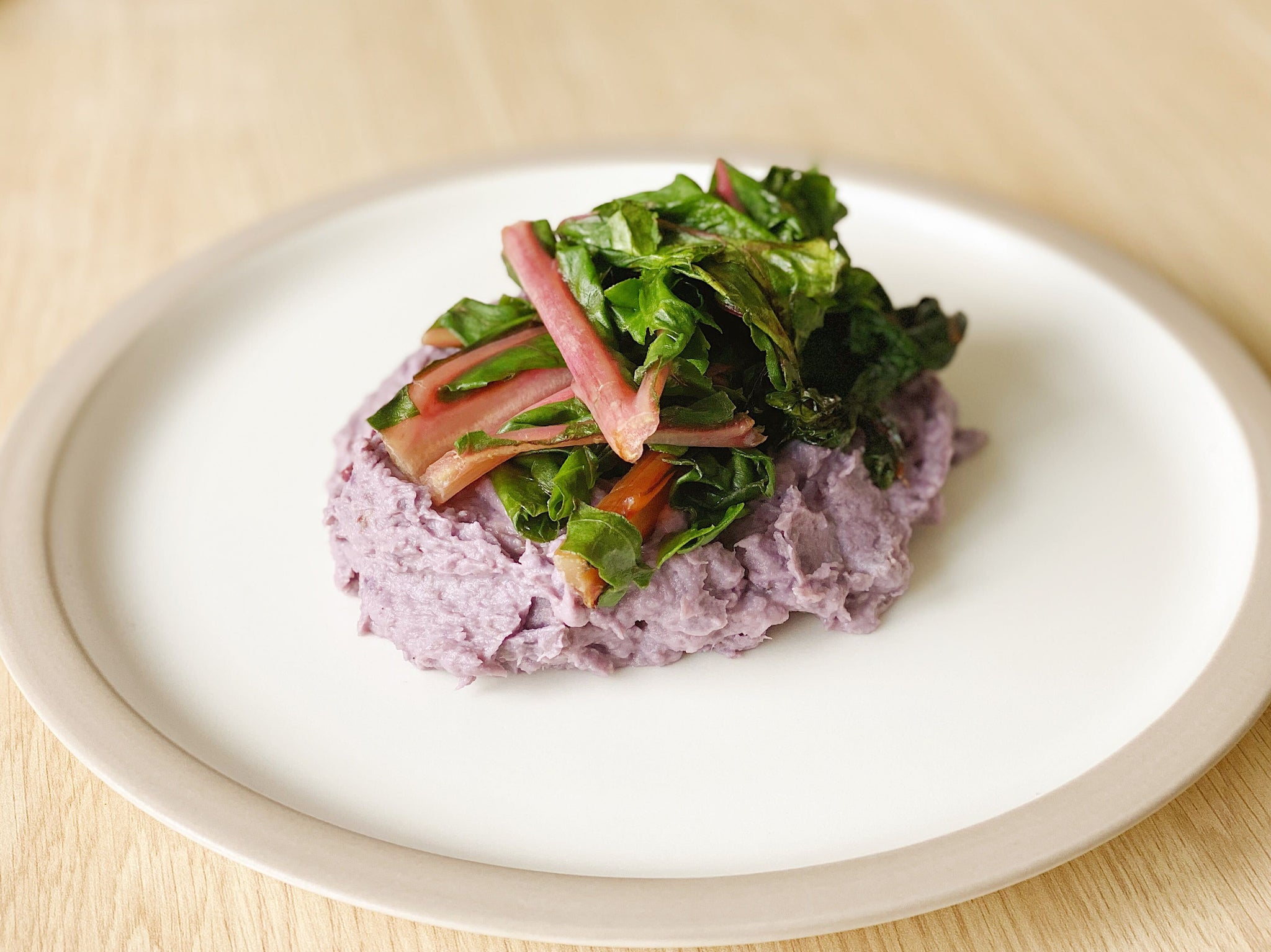 Paprika Rainbow Chard and Purple Potato Mashed Potatoes