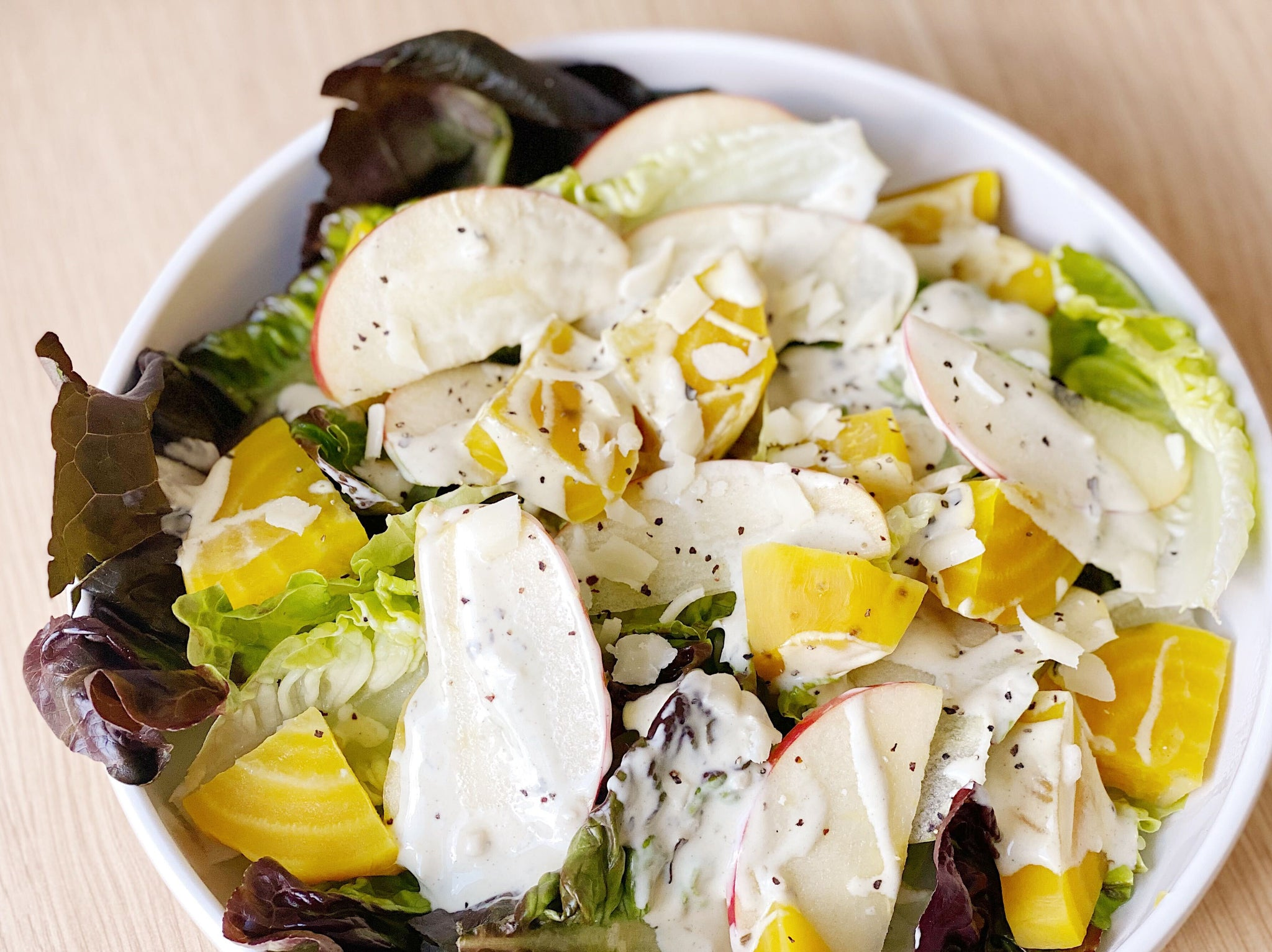Summer Golden Beet Salad with Lemon White Balsamic Vinaigrette