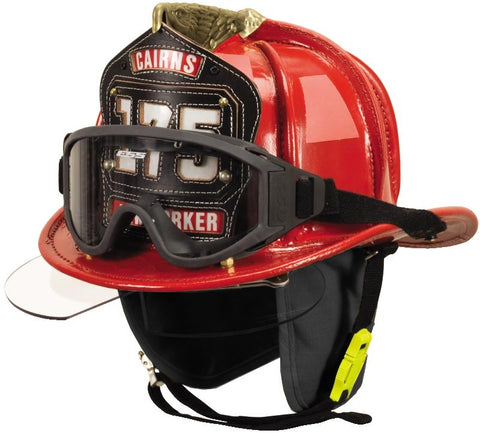 Cairns N5A New Yorker - Deluxe Leather Fire Helmet With Bourke and Black nomex earflap