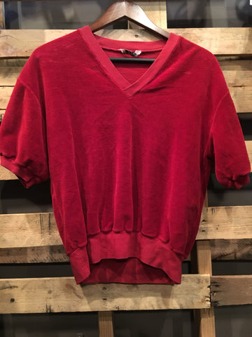 Vintage Red Velour Sweater Shirt