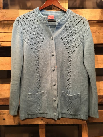 Vintage Light Blue Knit Cardigan