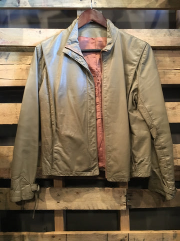 Beige Leather Jacket As-Is
